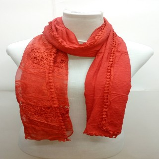 Premium Ari Diamond Lace Stole- Red